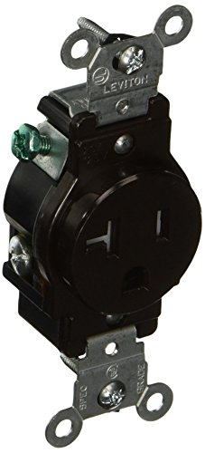 Leviton T5020 20-Amp, 125 Volt, Narrow Body Single Receptacle, Straight Blade, Tamper Resistant, Commercial Grade, Grounding, Brown