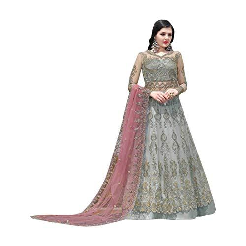 - Grey Indian Bollywood Evening Cocktail Net Anarkali Salwar Skirt style Suit Abaya Women Eid dress Semi-stitch 7942 5