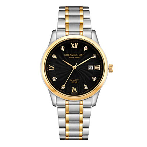 Silver Gold Men's Wrist Watches Stainless Steel Strap with Date Calendar Rhinestones Dial Black 003