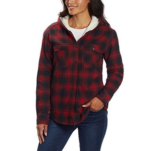 Boston Trader Ladies' Sherpa Lined Hooded Flannel (Black/Red, Small)