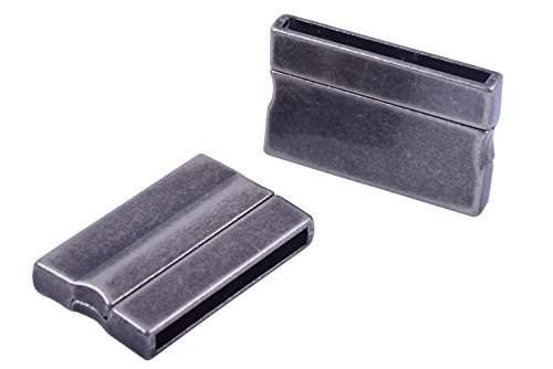 - KONMAY 3 Sets Antique Pewter Rectangle 30.0x3.0mm Glue-in Ends Flat Magnetic Jewelry Clasp