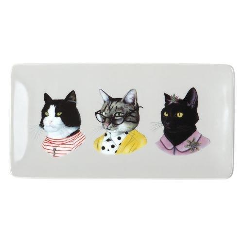 Download Berkley Bestiary Cat Portraits Rectangle Porcelain Tray pdf