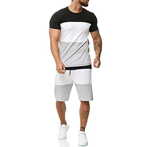 Striped Patchwork Jogging Sets for Men,Short Sleeve Tops+Drawsting Short Pants Sports Suit Tracksuit Sweat Suits by Leegor ()