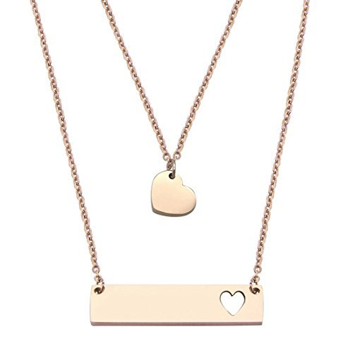 (JJTZX Mother Daughter Bar Necklace Set Horizontal Bar Necklace with Cutout Heart Mommy and Me Bar Necklace Set First Day of Kindergarten Gifts (Rose Gold bar)