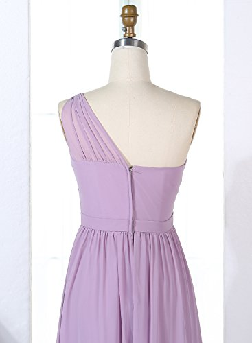 Chiffon Dresses One Pleat Womens Blush Long Bridesmaid Gowns Party Shoulder ALAGIRLS nOY7qIO