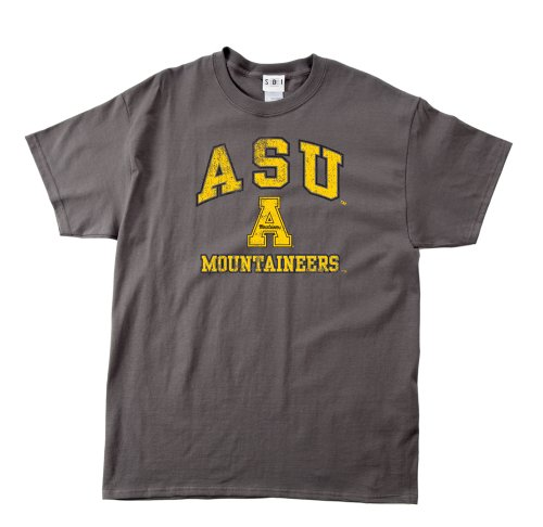 (NCAA Appalachian State Mountaineers 100-Percent Pre-Shrunk Vintage Mascot Short Sleeve Tee, Small, Charcoal )