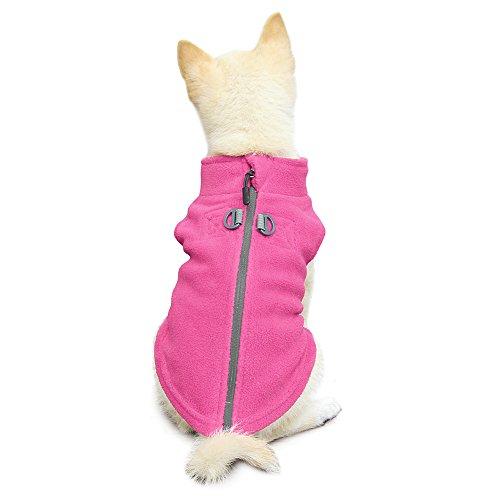 Gooby - Zip Up Fleece Vest, Fleece Jacket Sweater with Zipper Closure and Leash Ring, Pink, Small