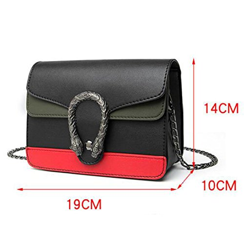 Womens Crossbody Bandoulière Sac à DHFUD Sac Chaîne Mode Black Simple PU à Main xXI1Fad