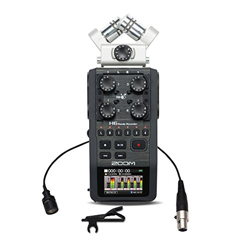 Zoom H6 Six Track Portable Recorder With Plms30 Wired Lavalier Mini Xlr Uni Directional Microphone  For Shure System