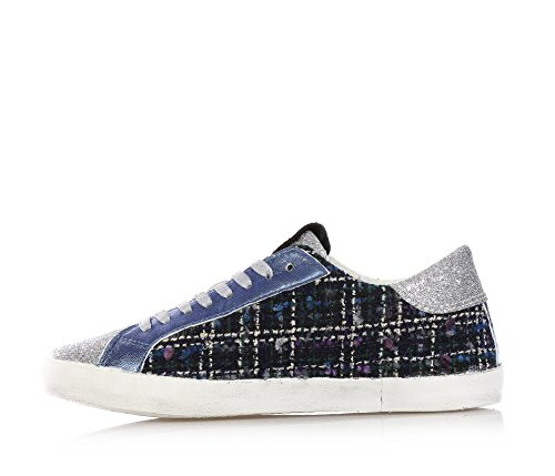 A Silver of Sneakers woman child and E glitter fabric Blue lace low girls top up made D T girl dwqHPdI