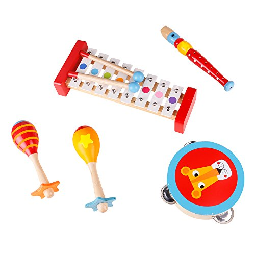 Band In A Box Musical Instruments For Toddlers & Kids - Wooden Baby Music Toys - Xylophone, Maracas, Recorder & Tambourine Percussion (Wooden Music)