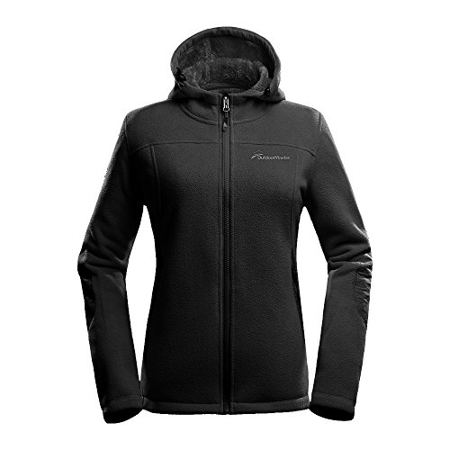OutdoorMaster Women's Fleece Jacket - Waterproof & Stain Repellent, Ultra Soft Plush Lining & Optional Hoodie - Full-Zip (Black Hoodie,M)