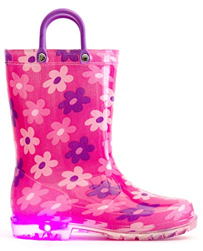 MOFEVER Girls Toddler Kids Rain Boots Light Up Waterproof Shoes Pink Flower Print Lightweight Cute Lovely Funny Print with Easy-on Handles (Size 8,Pink)