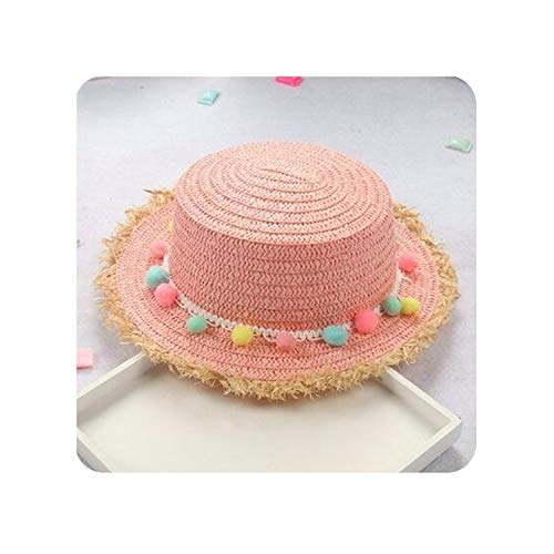 Child Summer Sun Hats Colorful Tassel Balls Straw