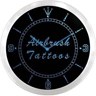 Pantalla de neón de la tienda de tatuajes QHY spraymaster LED reloj de pared de la muestra, color azul: Amazon.es: Relojes