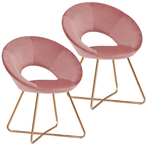 Pink Accent Chair Set of 2 for Living Room,Duhome Home Office Guest Chair Modern Mid-Century Golden Metal Frame Legs Velvet Padded Seat Easy Assembly