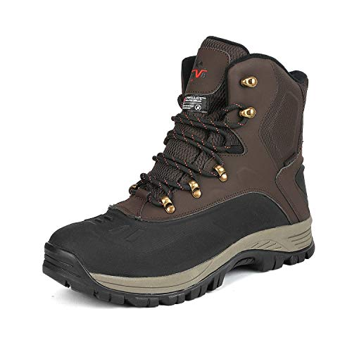 NORTIV 8 Men's 180411 Dark Brown Black Insulated Waterproof Construction Hiking Winter Snow Boots Size 8 M US