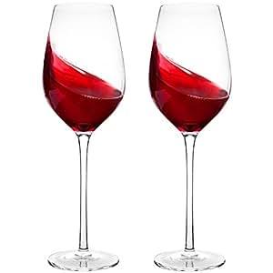 amazon com hand blown crystal wine glasses bella vino standard