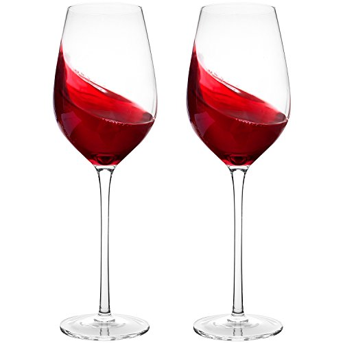 Crystal Wine Glasses Set of 2- Bella Vino Hand Blown Lead-Free Long Stem Red Wine Glasses, Premium Crystal Glass, 14-Ounce, Perfect for Any Occasion, Professional Wine Tasting, Standard, Clear (Set Crystal Wine)