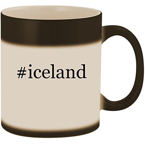 #iceland - 11oz Ceramic Color Changing Heat Sensitive Coffee Mug Cup, Matte Black