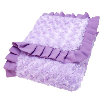 Top Seller Lilac and Plum Swirl Velour Ruffle Trimmed Receiving Blanket (Item# 102091)