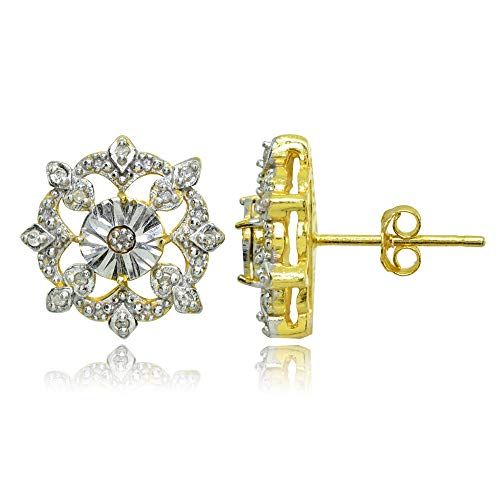 Yellow Gold Flashed Sterling Silver Polished Snowflake Diamond Accent Stud Earrings, - Gold Snowflake Diamond Earrings