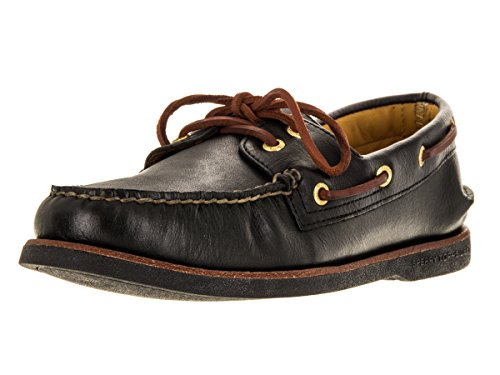 Sperry Top-Sider Mens Gold A/O 2-Eye Black Boat Shoe 7.5 M (D)