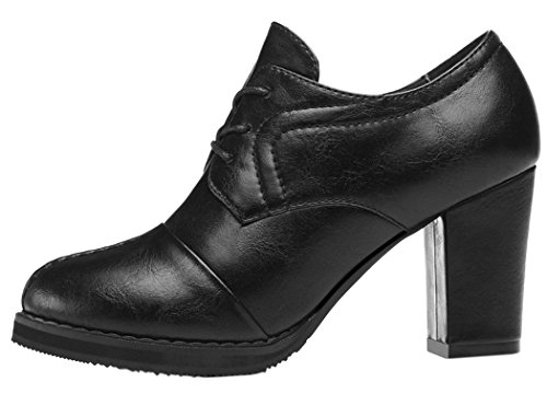 Guciheaven 2015 New Style Round-toe Lace-up High-heeled Shoes(6 B(M)US, Black)