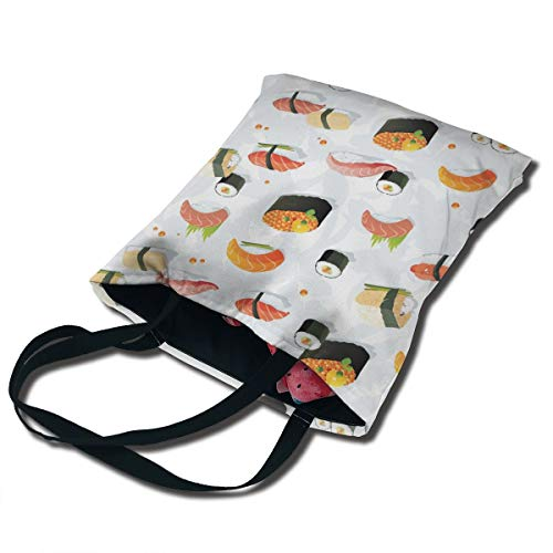 PTUOC Sushi Wallpaper Clipart Foldable Reusable Grocery Bags,Shopping Bag Fits in Pocket,Lightweight Capacity Portable Durable Tote Bag ()