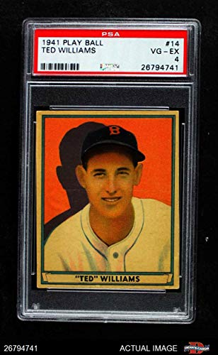 1941 Play Ball # 14 Ted Williams Boston Red Sox (Baseball Card) PSA 4 - VG/EX Red Sox from Play Ball