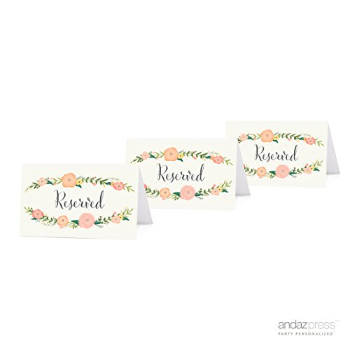 Andaz Press Table Tent Place Cards on Perforated Paper, Tea Party Floral Print, Reserved Collection, 20-Pack, Placecards Table Settings for use with Charger Plates and Place Card Holders, Catering, Food, Dessert Table Tent Cards (Holders Tea Place Party Card)