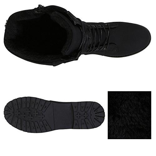 Stiefelparadies Warm Gefütterte Damen Schnürstiefeletten Schnallen Stiefelette Profilsohle Übergrößen Flandell Schwarz Agueda
