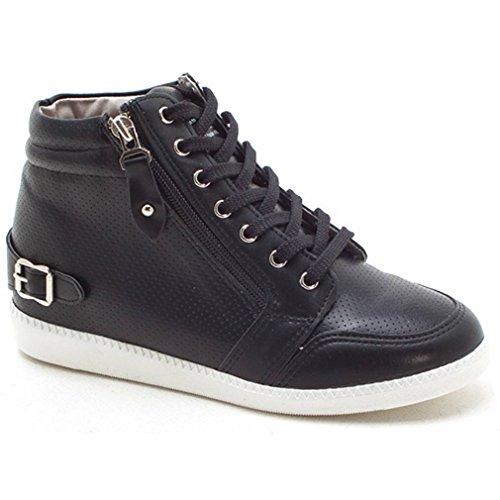 Epicstep Donna Casual Alte Cime Zip Stringate Zeppe Nascoste Scarpe Moda Sneakers Nere