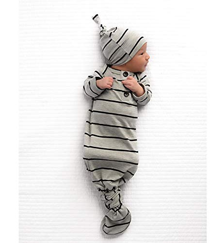 Cronsies Infant Newborn Baby Boy Girl Stripe Sleepwear Gown Swaddle Nightgown Wrap Knotted Sleeping Bag with Hat