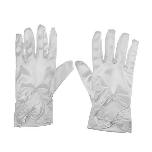 (Girls Wedding Pageant Party Full Length Satin Bowknot Dress Formal Wrist Gloves White (White S))