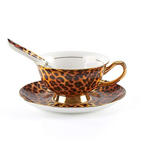 Tea Cup and Saucer Set-6.8oz Bone China Leopard Print Teacup Fine Dining and Table Decor Teacups with Saucer and Spoon For Tea Party (Leopard Set Print Dinnerware)