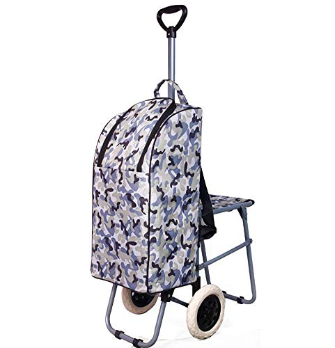 - Lightweight Wheeled Shopping Trolley Bag - Heavy Duty Collapsible Rolling Cart,C