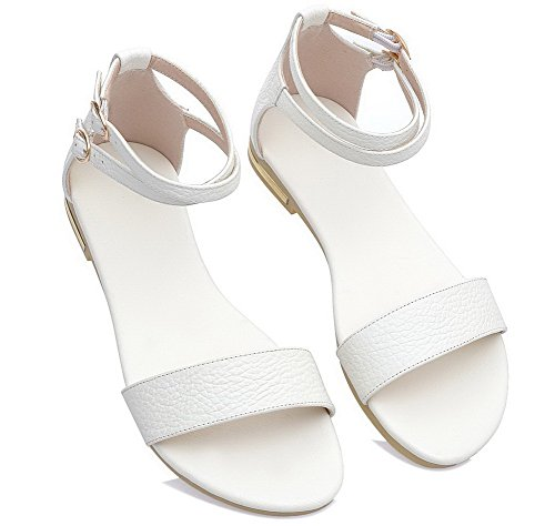 Solid White Pu Women Toe VogueZone009 Buckle Sandals Low Heels Open zqI16wX