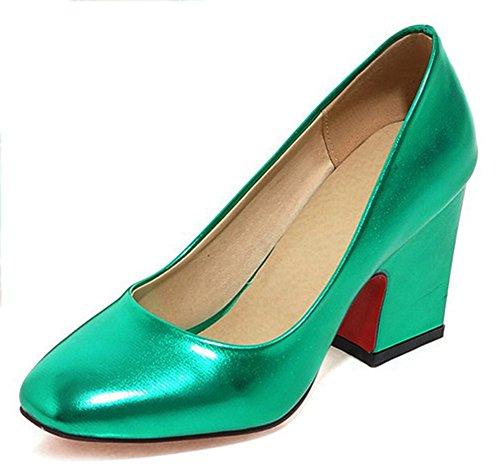 Chfso Moda Solid Square Toe Low Top Slip On High Chunky Heel Club Bombas Zapatos Azul
