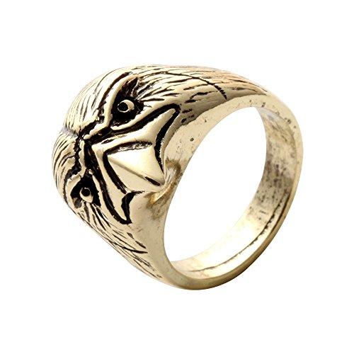SENFAI Animal Ring Punk Eagle Head Bird Skeleton Biker Rings For Man (antique (Bird Head Skeleton)