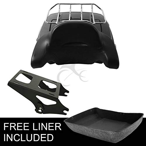 TCMT Chopped Tour Pak Pack Trunk Backrest +Two-Up Mount Rack Fits For Harley Touring 2014 2015 2016 2017 2018 2019