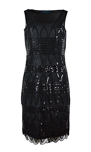 Mujeres Negro sin mangas bordado Mini vestido Chinlon Black
