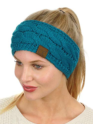 C.C Soft Stretch Winter Warm Cable Knit Fuzzy Lined Ear Warmer Headband, Teal