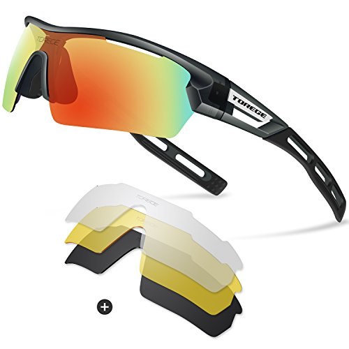 Torege Polarized Sports Sunglasses for Men Women Cycling Running Driving TR033( Transparent Gray&Black tips&Red - Shield Sunglasses Men