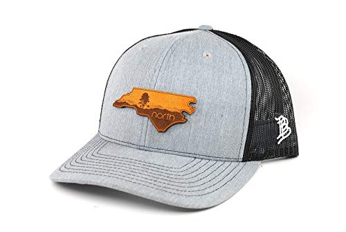Leather Blue Ridge (Branded Bills North Carolina 'The Blue Ridge' Leather Patch Hat Curved Trucker - OSFA/Heather Grey/Black)