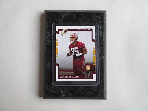 Jonathan Allen Washington Redskins 2017 Donruss Football player card mounted on a 4 x 6 black marble plaque