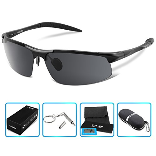 COSVER Fashion Sports Sunglasses Polarized Glasses for Driving Cycling Running Fishing Golf Unbreakable - Metal Frame Al-Mg Glasses (Black)