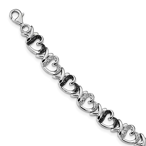 925 Sterling Silver Rhod Plated Black White Diamond Bracelet 7.5 Inch/love Fine Jewelry Gifts For Women For Her