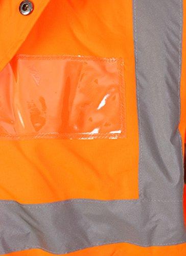 HuntaDeal Hi VIS Viz High Visibility Parka Jacket Coat Workwear Safety Security Concealed Hood Hooded Padded /¾ Length Waterproof Work Uniform Plus Big Size