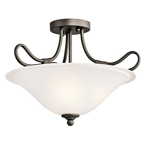 Kichler 3757OZ Stafford Pendant/Semi-Flush 2-Light, Olde Bronze (Kichler Glass Floor Lamp)